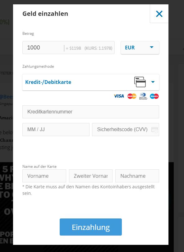 Einzahlung beim Bitcoin Broker