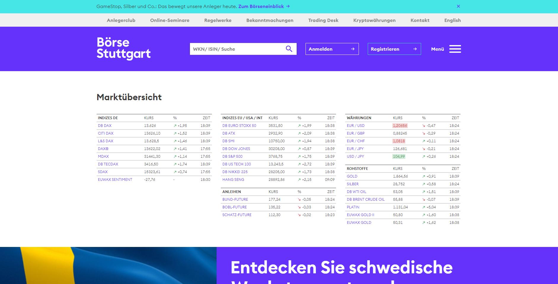 Offizielle Webseite der Börse Stuttgart