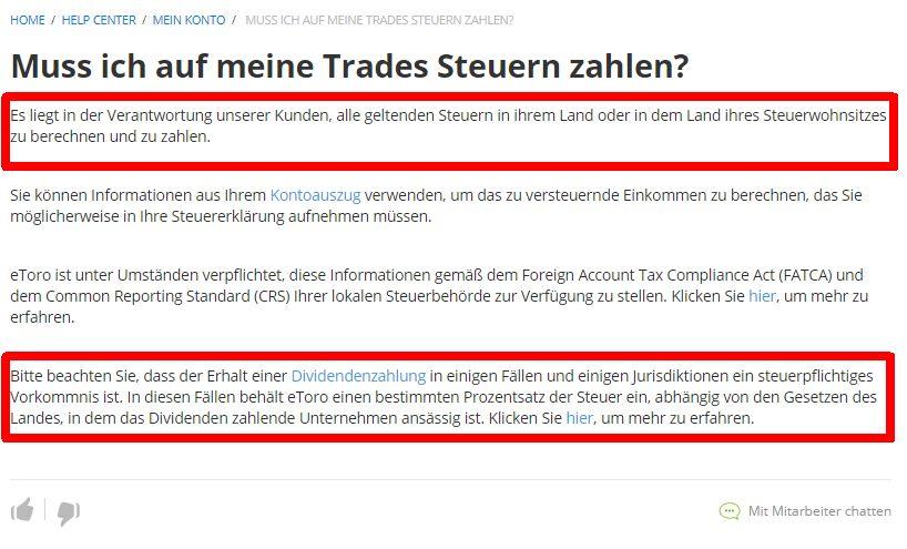 Hinweise Steuern und Trading