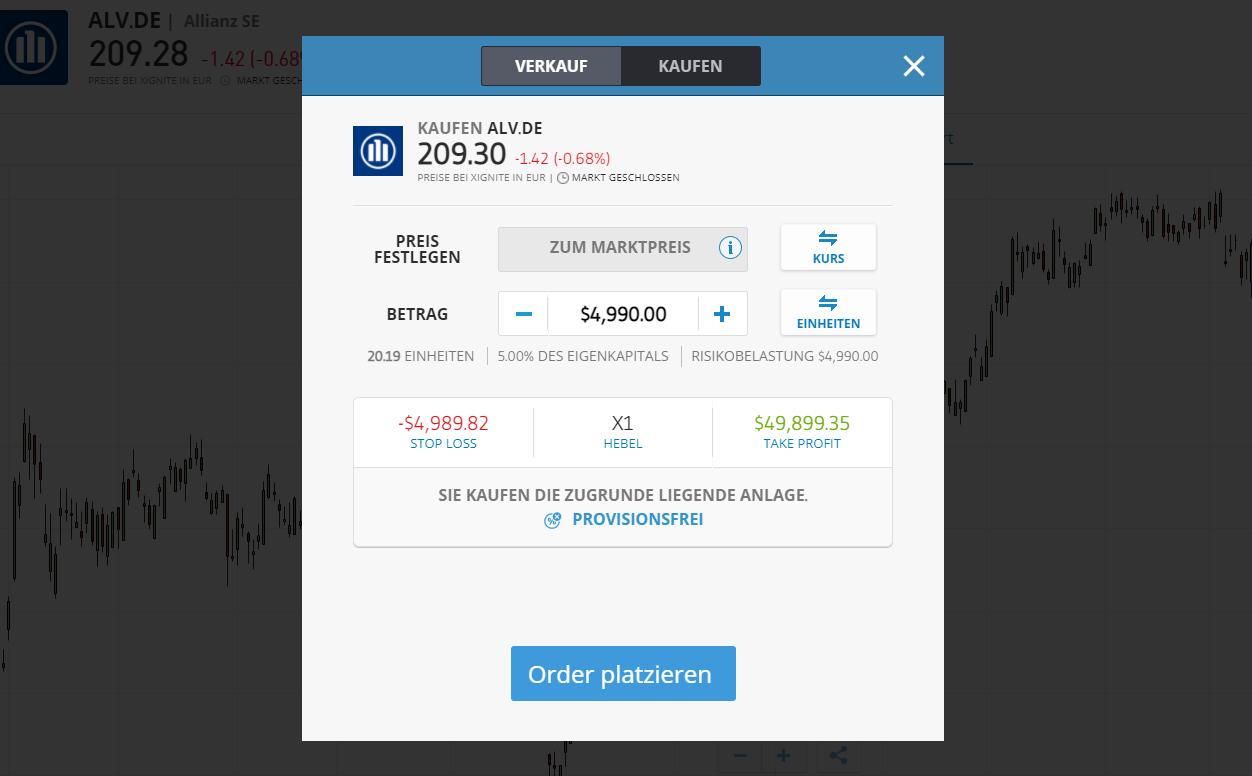 Allianz Aktie kaufen - Order