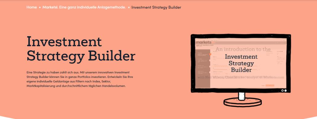 Beispiel von Markets.com: Der Investmenst Strategy Builder