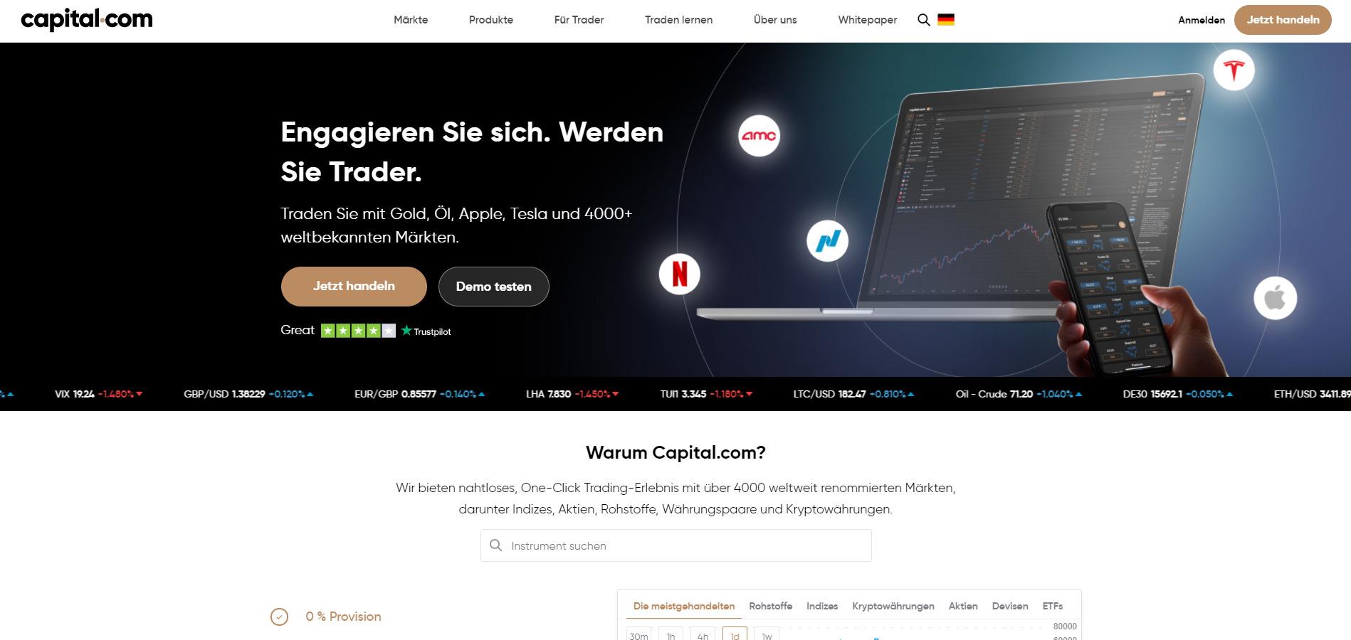 Capital.com offizielle Webseite