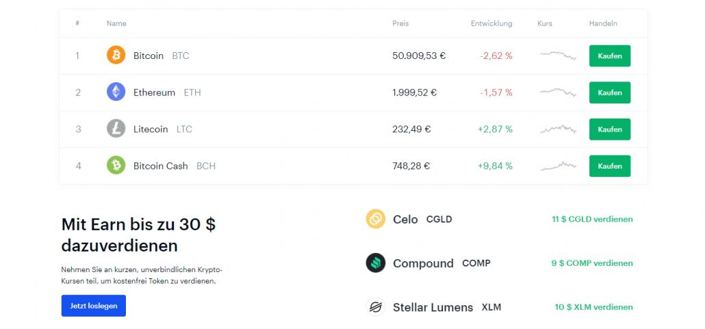 Coinbase webseite - Kaufen Sie Kryptowährungen