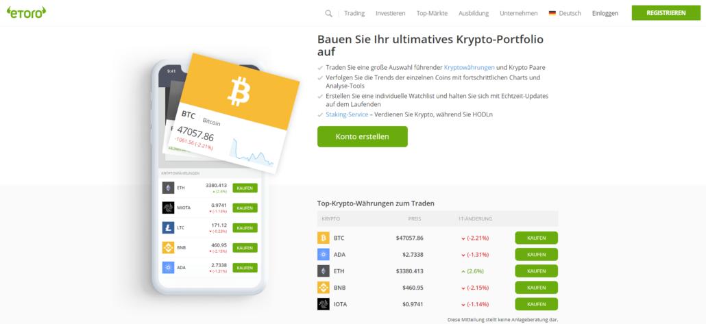 Etoro Kryptowährungen Plattform