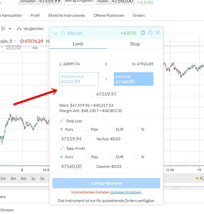 Markets.com Ordereröffnung