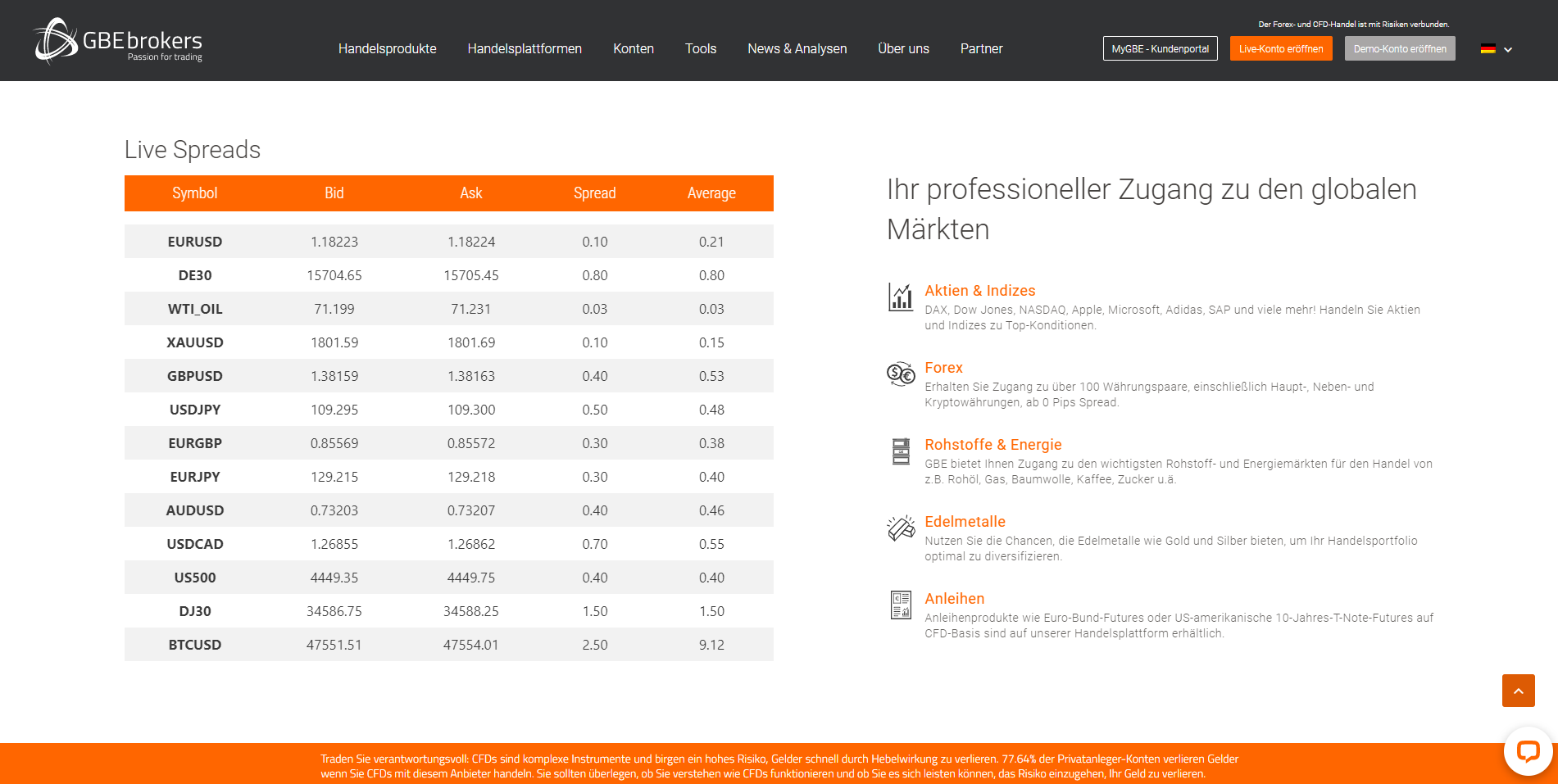 Offizielle Webseite GBE Brokers