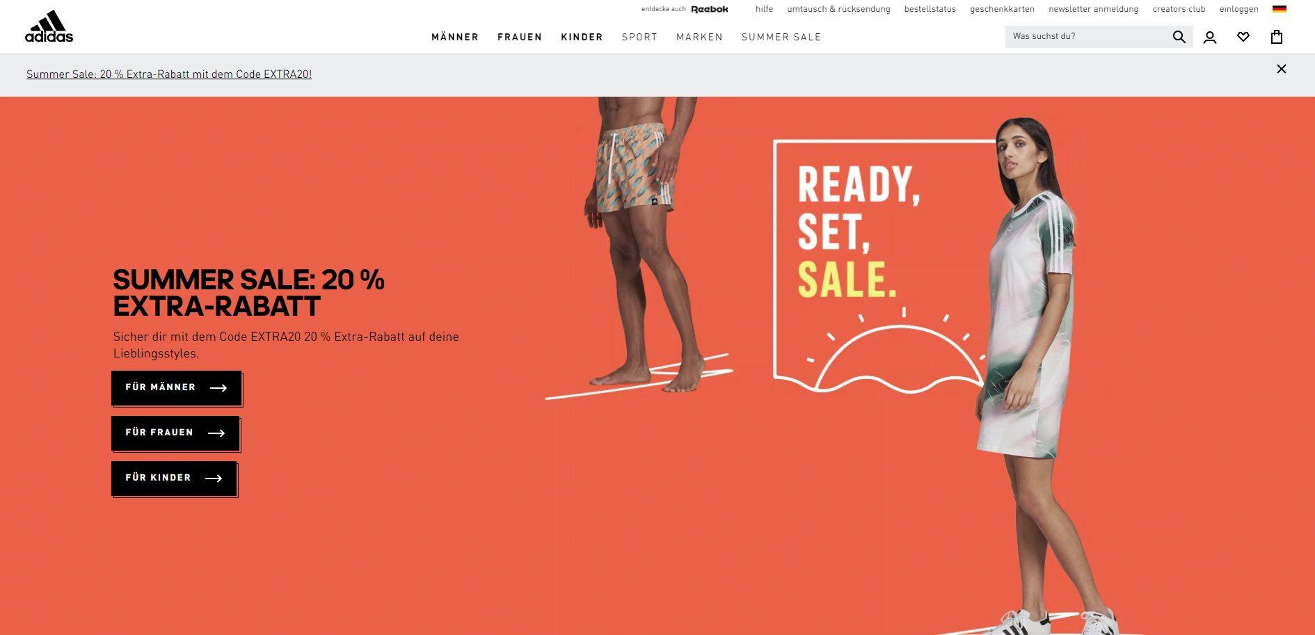 Offizielle Webseite von Adidas