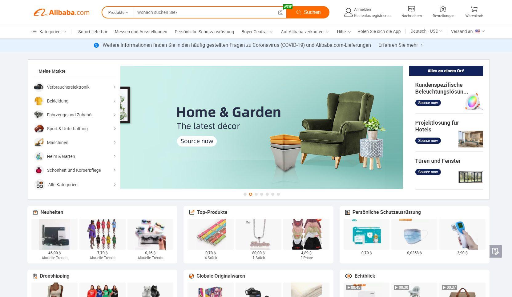 Offizielle Webseite von Alibaba