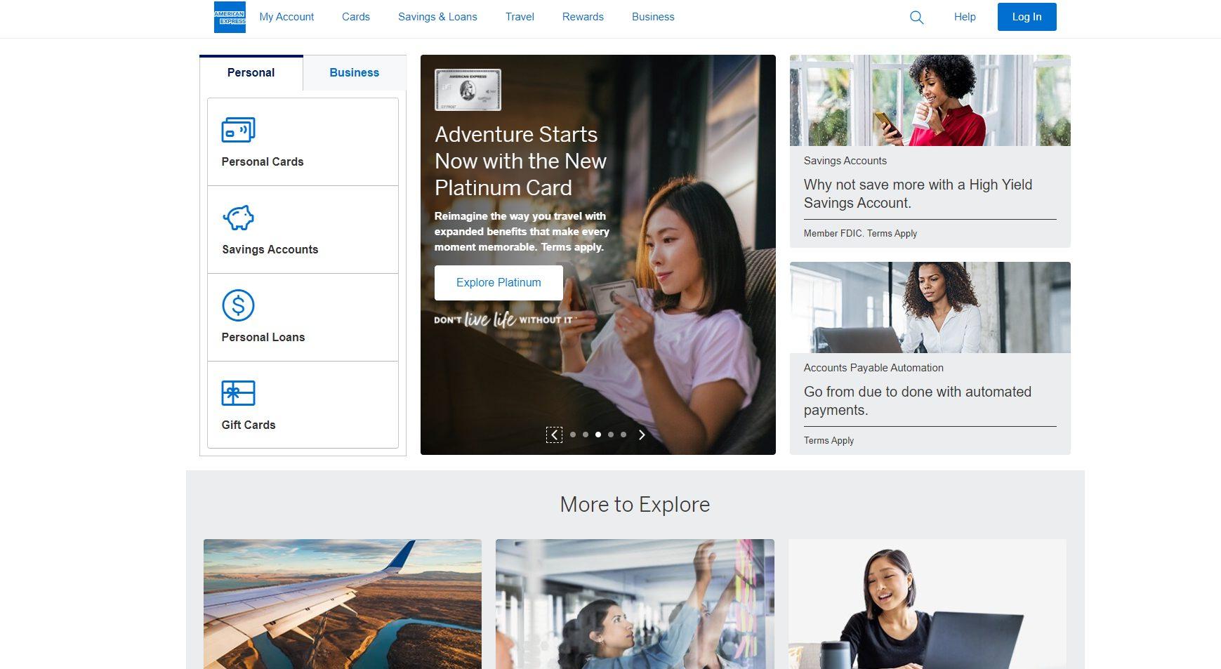Offizielle Webseite von American Express