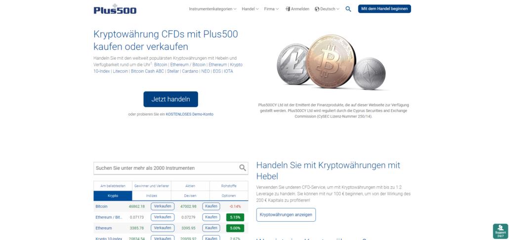 Plus500 Kryptowährungen Plattform (illustrative Preise)