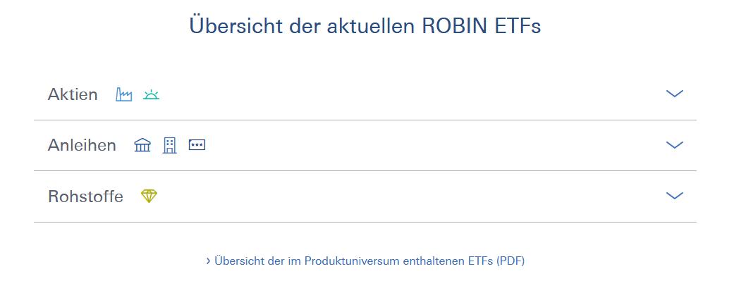 Robin ETF-Liste