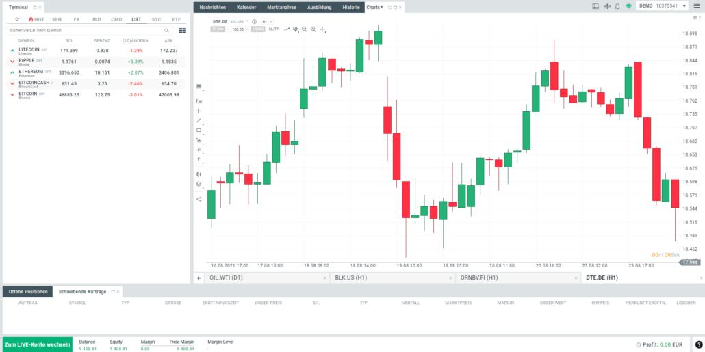 XTB Kryptowährungen Plattform